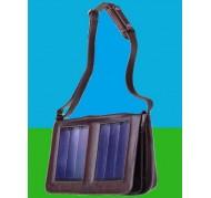Borsa solare in pelle con tracolla marrone